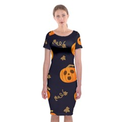 Funny Scary Black Orange Halloween Pumpkins Pattern Classic Short Sleeve Midi Dress by HalloweenParty