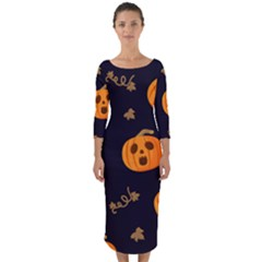 Funny Scary Black Orange Halloween Pumpkins Pattern Quarter Sleeve Midi Bodycon Dress