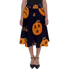 Funny Scary Black Orange Halloween Pumpkins Pattern Perfect Length Midi Skirt