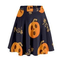 Funny Scary Black Orange Halloween Pumpkins Pattern High Waist Skirt