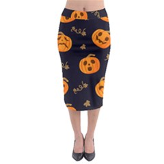 Funny Scary Black Orange Halloween Pumpkins Pattern Midi Pencil Skirt