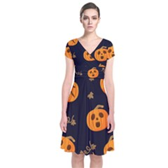 Funny Scary Black Orange Halloween Pumpkins Pattern Short Sleeve Front Wrap Dress