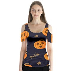 Funny Scary Black Orange Halloween Pumpkins Pattern Butterfly Sleeve Cutout Tee