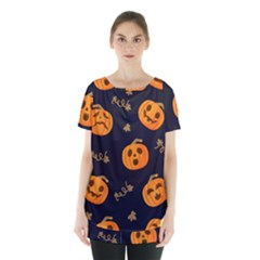 Funny Scary Black Orange Halloween Pumpkins Pattern Skirt Hem Sports Top