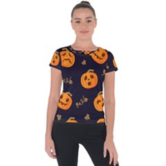 Funny Scary Black Orange Halloween Pumpkins Pattern Short Sleeve Sports Top