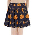Funny Scary Black Orange Halloween Pumpkins Pattern Pleated Mini Skirt View1