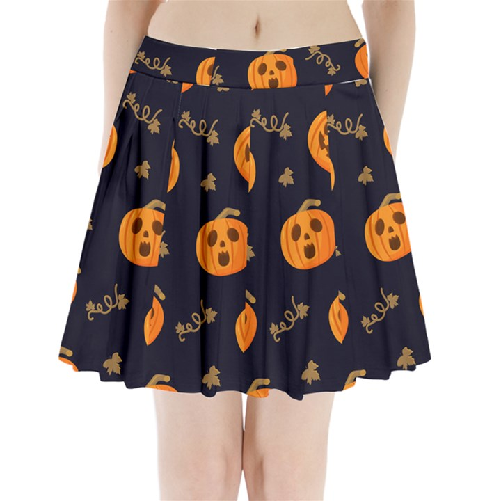 Funny Scary Black Orange Halloween Pumpkins Pattern Pleated Mini Skirt