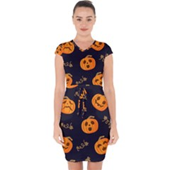 Funny Scary Black Orange Halloween Pumpkins Pattern Capsleeve Drawstring Dress