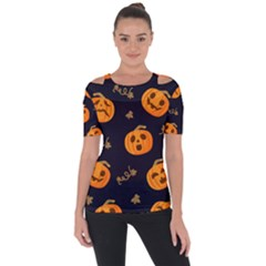 Funny Scary Black Orange Halloween Pumpkins Pattern Shoulder Cut Out Short Sleeve Top