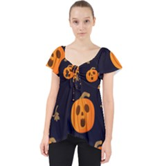 Funny Scary Black Orange Halloween Pumpkins Pattern Lace Front Dolly Top