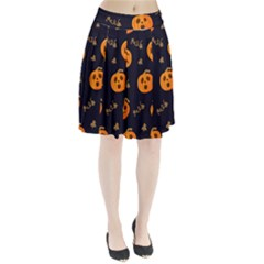 Funny Scary Black Orange Halloween Pumpkins Pattern Pleated Skirt