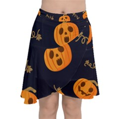 Funny Scary Black Orange Halloween Pumpkins Pattern Chiffon Wrap Front Skirt