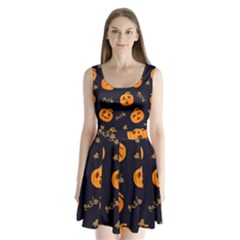 Funny Scary Black Orange Halloween Pumpkins Pattern Split Back Mini Dress