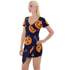 Funny Scary Black Orange Halloween Pumpkins Pattern Short Sleeve Asymmetric Mini Dress