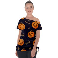 Funny Scary Black Orange Halloween Pumpkins Pattern Tie Up Tee