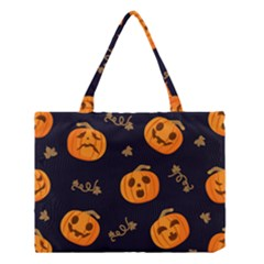 Funny Scary Black Orange Halloween Pumpkins Pattern Medium Tote Bag