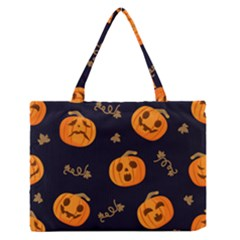 Funny Scary Black Orange Halloween Pumpkins Pattern Zipper Medium Tote Bag