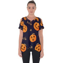 Funny Scary Black Orange Halloween Pumpkins Pattern Cut Out Side Drop Tee