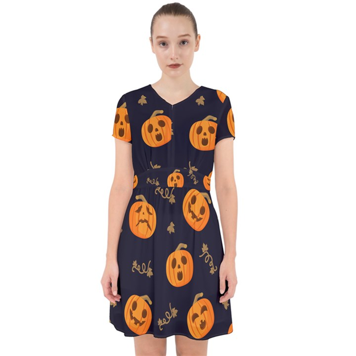 Funny Scary Black Orange Halloween Pumpkins Pattern Adorable in Chiffon Dress
