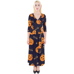 Funny Scary Black Orange Halloween Pumpkins Pattern Quarter Sleeve Wrap Maxi Dress