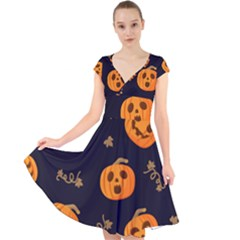 Funny Scary Black Orange Halloween Pumpkins Pattern Cap Sleeve Front Wrap Midi Dress