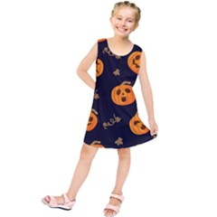 Funny Scary Black Orange Halloween Pumpkins Pattern Kids  Tunic Dress