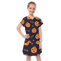 Funny Scary Black Orange Halloween Pumpkins Pattern Kids  Drop Waist Dress