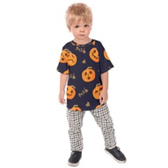 Funny Scary Black Orange Halloween Pumpkins Pattern Kids Raglan Tee
