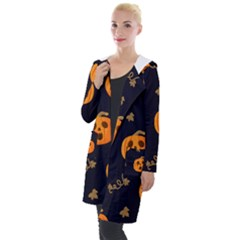 Funny Scary Black Orange Halloween Pumpkins Pattern Hooded Pocket Cardigan