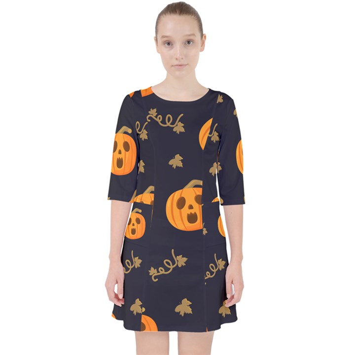 Funny Scary Black Orange Halloween Pumpkins Pattern Pocket Dress