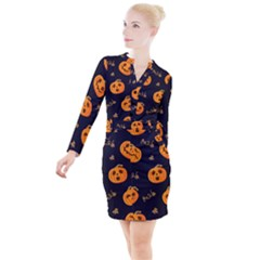 Funny Scary Black Orange Halloween Pumpkins Pattern Button Long Sleeve Dress