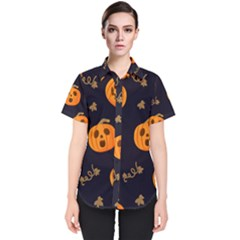 Funny Scary Black Orange Halloween Pumpkins Pattern Women s Short Sleeve Shirt