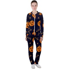 Funny Scary Black Orange Halloween Pumpkins Pattern Casual Jacket And Pants Set