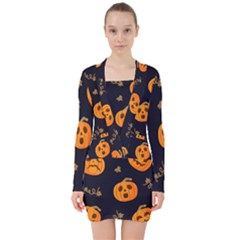 Funny Scary Black Orange Halloween Pumpkins Pattern V Neck Bodycon Long Sleeve Dress