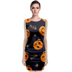 Funny Scary Black Orange Halloween Pumpkins Pattern Sleeveless Velvet Midi Dress