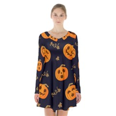 Funny Scary Black Orange Halloween Pumpkins Pattern Long Sleeve Velvet V Neck Dress