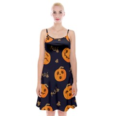 Funny Scary Black Orange Halloween Pumpkins Pattern Spaghetti Strap Velvet Dress