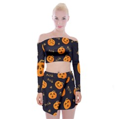 Funny Scary Black Orange Halloween Pumpkins Pattern Off Shoulder Top With Mini Skirt Set
