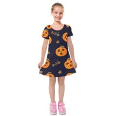 Funny Scary Black Orange Halloween Pumpkins Pattern Kids  Short Sleeve Velvet Dress
