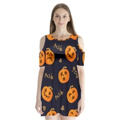 Funny Scary Black Orange Halloween Pumpkins Pattern Shoulder Cutout Velvet One Piece
