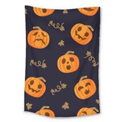 Funny Scary Black Orange Halloween Pumpkins Pattern Large Tapestry
