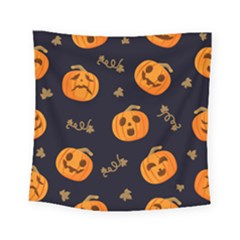 Funny Scary Black Orange Halloween Pumpkins Pattern Square Tapestry (small)
