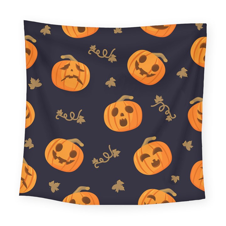 Funny Scary Black Orange Halloween Pumpkins Pattern Square Tapestry (Large)