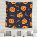 Funny Scary Black Orange Halloween Pumpkins Pattern Square Tapestry (Large) View2