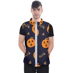 Funny Scary Black Orange Halloween Pumpkins Pattern Men s Puffer Vest