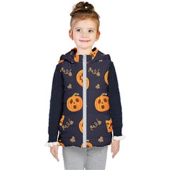 Funny Scary Black Orange Halloween Pumpkins Pattern Kid s Hooded Puffer Vest