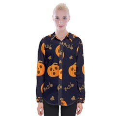 Funny Scary Black Orange Halloween Pumpkins Pattern Womens Long Sleeve Shirt