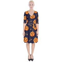 Funny Scary Black Orange Halloween Pumpkins Pattern Wrap Up Cocktail Dress
