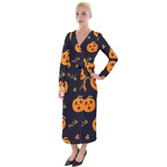 Funny Scary Black Orange Halloween Pumpkins Pattern Velvet Maxi Wrap Dress by HalloweenParty