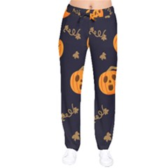 Funny Scary Black Orange Halloween Pumpkins Pattern Velvet Drawstring Pants